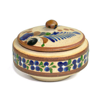 Tonalá Mexican Folk Art Pottery Trinket Box - Round Dish with Lid, Rustic Stoneware, Hand Painted Cobalt Blue, Green, Brown - Vintage Home