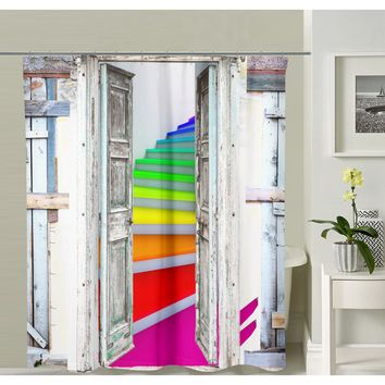 Colorful Stairs Shower Curtain