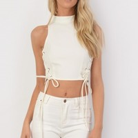 Harriet Cream Faux Suede Lace Up Side Crop Top - Womens Fashion Tops | South Avenue