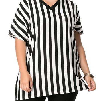 Streetstyle  Casual V-Neck Vertical Striped Plus Size T-Shirt