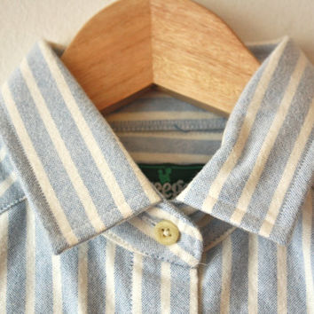Thick Flannel Vintage Mountain Shirt Light Blue White Stripe Kreeger Collection