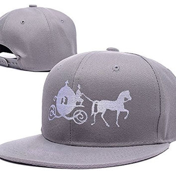 RHXING Cinderella Carriage Pumpkin Carriage Logo Adjustable Snapback Embroidery Hats Caps - Grey