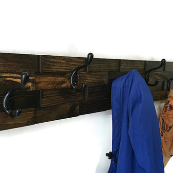 Large coat rack with 6 double hooks, rustic coat rack, wall coat rack, wood coat hooks, towel rack, wood coat hanger, entryway organizer