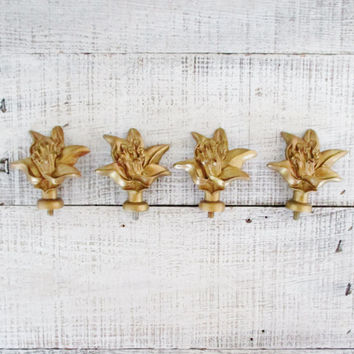 Finial 4 Curtain Rod Finials Screw On Finials Hollywood Regency Decor Flower Shaped Finials Curtain Finials Boho Decor Cottage Chic