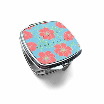 Hello Beautiful Hand Stamped Compact Mirror - Mirror Compact - Bridesmaid Gift - Coral and Turquoise Wedding - Floral Double Compact Mirror