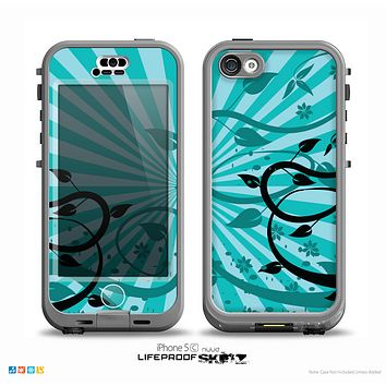 The Green Rays with Vines Skin for the iPhone 5c nüüd LifeProof Case