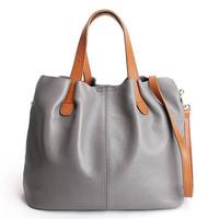 Casual Minimal Grey Leather Tote Bag. Gray Leather Shopper