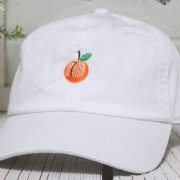 deae00b68a4fc6 PEACH Baseball Hat Low Profile Embroidered Baseball Caps Dad Hats Lime Green