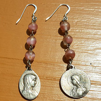 Religious Catholic Rosary Earrings Medals Madonna Mary Free U.S. Shipping