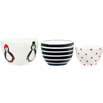 Penguin Party Ceramic Prep Bowl Set