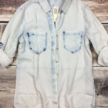 White Out Denim Button Up