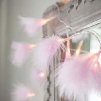 Pink Fluffy Feather Fairy Lights