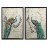 Panache Peacock Art - Set of 2