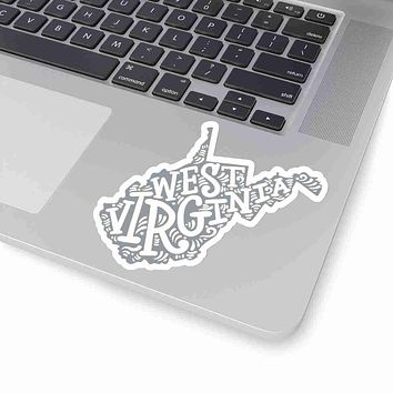 West Virginia State Shape Sticker Decal - Grey