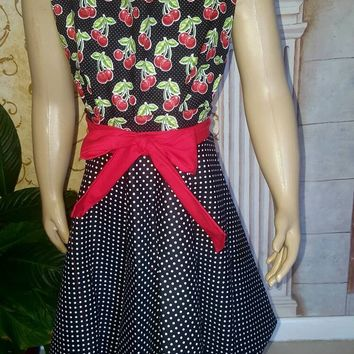 Cherries - polka dot - Babydoll- rockabilly- pinup- style apron with matching hair accesory
