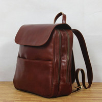Red Brown Handmade cow leather tote/leather backpack/shoulder bag/leather bag/handmade bag/