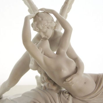 Psyche Revived by Cupid's Kiss statue - Rare early 20th century German bisque porcelain miniature sculpture - Detailed porcelain statue