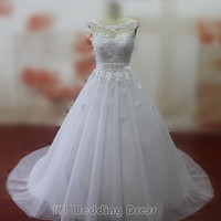 Real Photos A-line Wedding Dresses with Lace Appliques Wedding Gowns with Sash Bridal Gowns Bridal Dress