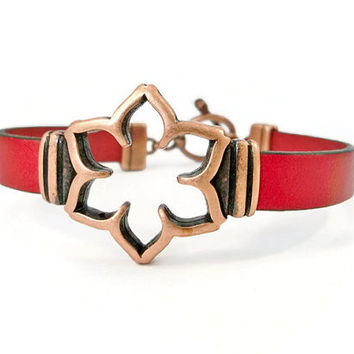 Copper and Red Leather Bracelet, Copper and Leather, Copper Flower, Gift for Her, Copper Bracelet