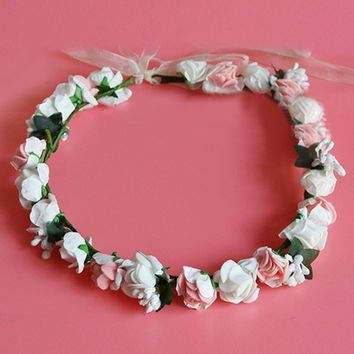 Beige and Pink Floral Tie Back Headband