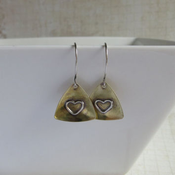 Raw Brass Triangle Earrings, Silver Heart, Oxidized Sterling Silver Ear Wires, Minimalist Earrings