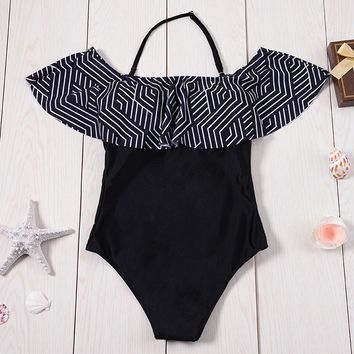 2017 Sexy Off Shoulder Swimwear Flouncing One Piece Swimsuit Women Falbala Bathing Suit Woman Ruffles Monokini Bodysuit Leotard