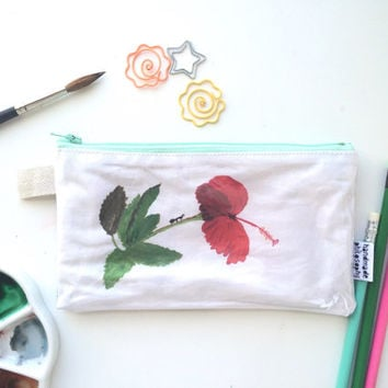 Hibiscus Botanical Divided Pencil Case (handmade philosophy's illustration)