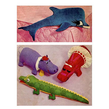 1970s STUFFED ANIMAL PATTERN Toys Dolphin Alligator Mr & Mrs Boy Girl Hippo Simplicity 5778 UNCuT Vintage Craft Sewing Patterns Toy Patterns