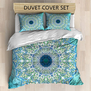 Mandala bedding, Bohemian queen / king / full / twin duvet cover set, Flower mandala for balance and harmony duvet cover set, Boho chic duvet cover, mandala bedding set