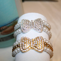 Silver and Gold Rhinestone Bow Bracelets