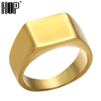 HIP Simple Style 3 Colors Titanium Stainless steel Geometric Square Rings for Men jewelry US Size 8-12 Bkack/Silver/Gold