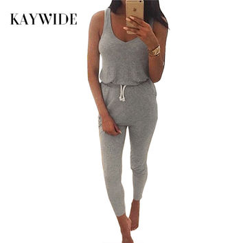 Kaywide New 2016 Summer Low Cut Rompers Womens Jumpsuit Black Elastic Waist Sleeveless Long Pants Playsuit Strap Pocket Overalls
