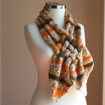 Autumn Hand Knit Scarf Woven Cowl in Brown by ForYouDesign