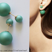 Matte green Mise en Dior style double pearl earrings Faux Pearl tribal earring trendy fashion studs double faced statement style jewelry