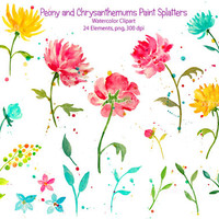 Hand drawn watercolor clipart - abstract Peony & Chrysanthemum with paint splatters for instant download