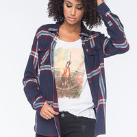 Volcom Love Me Not Womens Flannel Shirt Navy Combo  In Sizes