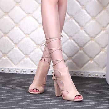 Cut Out Peep Toe Chunky High Heel Lace Up Sandals