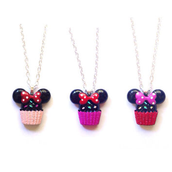 Handmade Minnie Mouse Cupcake Necklace - 3 Variations Available