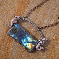Mermaid Labradorite Gemstone Pendant Necklace