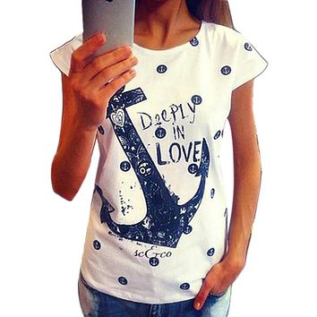 Feitong Fashion 2018 Women's Summer Style T Shirts Letter Print Anchor Slim Cotton Casual Shirts Tops Free Shipping