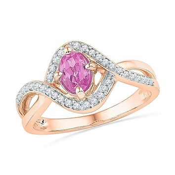 10k Rose Gold Women's Oval Lab-Created Pink Sapphire Solitaire Twist Ring