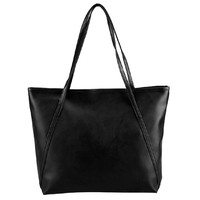 Vintage Black PU Leather Shoulder Tote Bag