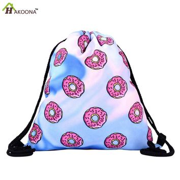 HAKOONA Printed Colorful Donuts Shoes Bags Polyester Fabric Travel Shoulders Backpack Drawstring Storage Bags Organizers 39*30cm