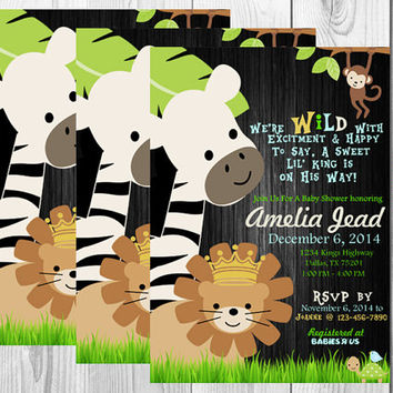 Baby Shower Safari Invitation/Wild/Jungle/Safari/Baby Shower/Elephant/Giraffe/Lion/Lil King/Printable/Digital/Chalkboard