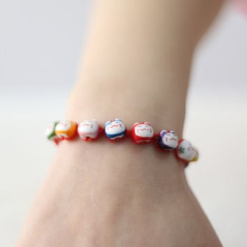 friendship bracelets color ceramic Lucky cat cute red rope bracelet jewelry jewelry lovers this animal year bracelets & bangles