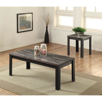 Arabia Coffee/End Table Set, Faux Marble & Black, Pack of 2 Pieces