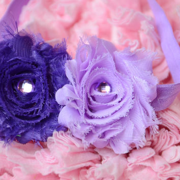 Shabby Rose Purple & Lilac Headband with rhinestone embellishment on a  light purple headband.