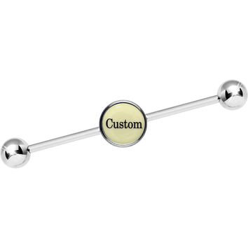 Custom Glow in the Dark Personalized Name Industrial Barbell