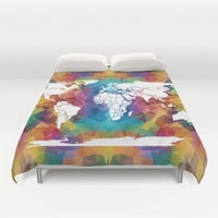 Colorful Geometric World Map Duvet Cover by Color and Form