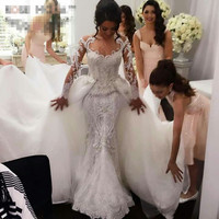 Luxury Detachable Train Wedding Dress Bridal Gown